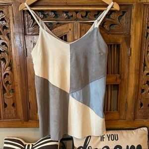 Suede Look Size S Lined Shoestring Raw Edge Top